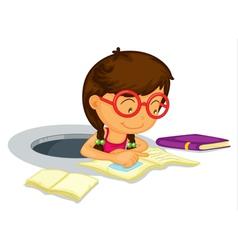 Girl doing schoolwork vector image
