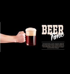 Hand holding a glass of cold beer with full foam vector