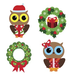 Holiday set with owl vector image vector image