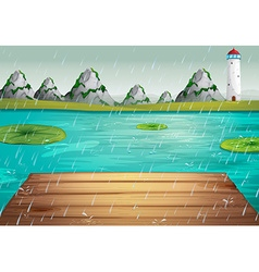 Lake scene during the rain vector image vector image