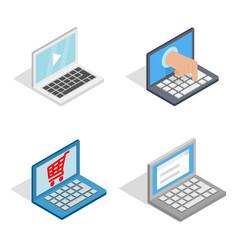 laptop icon set isometric style vector image vector image