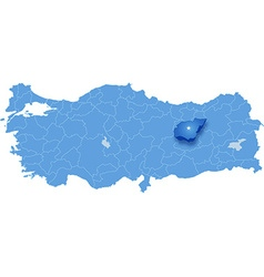 Map of turkey tunceli vector