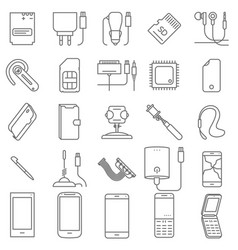 Mobile service icons vector