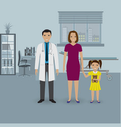 Mother and baby daughter visit doctor s office vector
