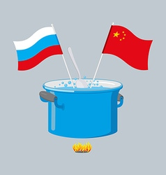 Political kitchen russia and china community cook vector