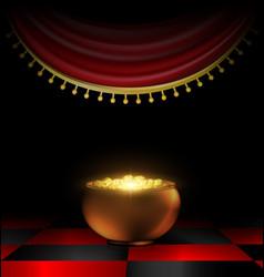 Pot of gold in the dark vector