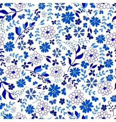 seamless pattern from blue flowers vector image