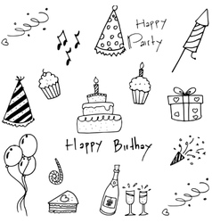 Set of party doodles on white background vector