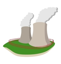 Smoking pipes of thermal power plant vector