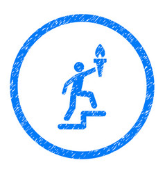 Stepping leader with torch rounded grainy icon vector