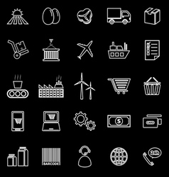 Supply chain line icons on black background vector