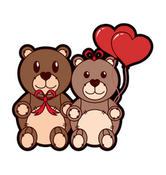 Teddy bear couple design vector