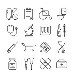 Thin line medical items set vector