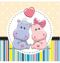 Two cute cartoon hippos vector