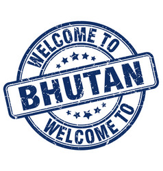 Welcome to bhutan blue round vintage stamp vector