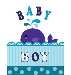 Whale baby boy vector