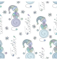 Winter seamless pattern with cute snowman vector image vector image