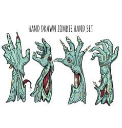 zombie hand set vector image vector image