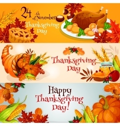 Thanksgiving Day banners with traditional elements vector image