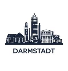 Darmstadt skyline emblem vector