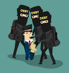 businessman in debt business concept vector image