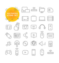 Multimedia outline icon set pictogram set vector