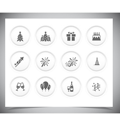 Set of grey new year buttons vector