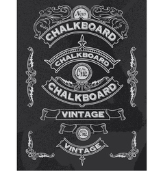 Floral decorative chalkboard banner and ribbon set vector