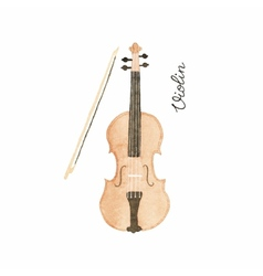 Watercolor violin on the white background vector