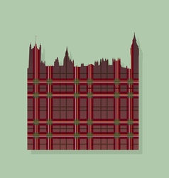 Contour of london against the scottish ornament vector