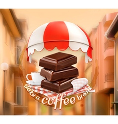 Pieces of chocolate and cup of coffee awning over vector
