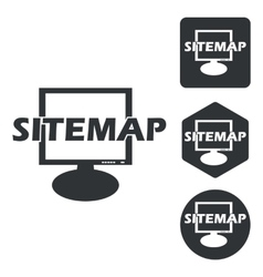 Sitemap icon set monochrome vector