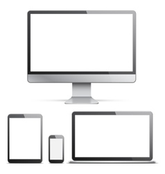 Electronic Devices with White Screens vector image