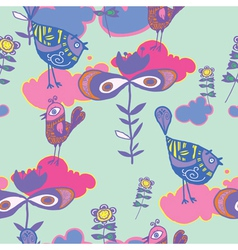 birds and floral background vector image