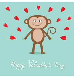 Happy valentines day love card cute monkey red vector
