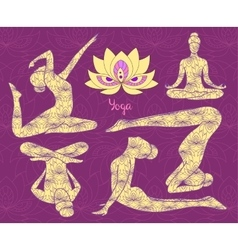 Yoga silhouette set vector