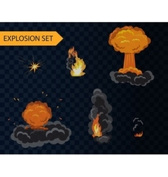 Cartoon explosion animation effect set with smoke vector