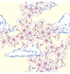 Seamless pattern sakura and clouds vector