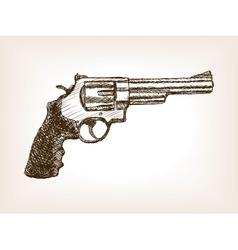 Revolver pistol sketch style vector