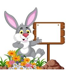 Funny rabbit cartoon posing with blank sign vector