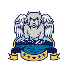 american bully dog angel wings island vector image vector image