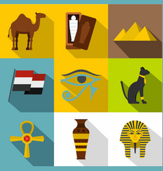 Ancient egypt icon set flat style vector