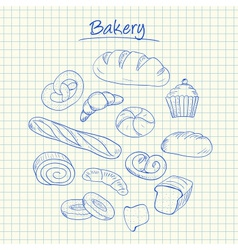 bakery doodles squared paper vector image vector image