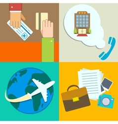 Business travel infographics icons set vector image vector image
