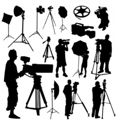 cameraman film objects vector image