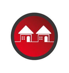 Color circular frame with set of houses vector