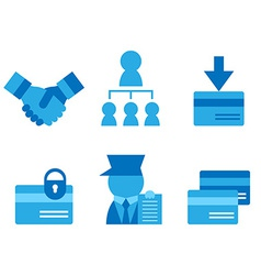 Credit card business card partnerships flat icons vector