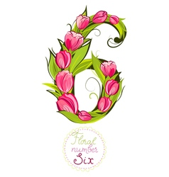 Decorative number six made with tulips vector image