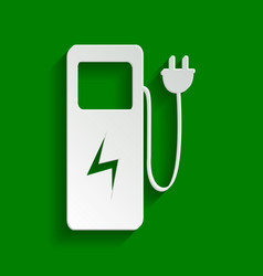 Electric car charging station sign paper vector