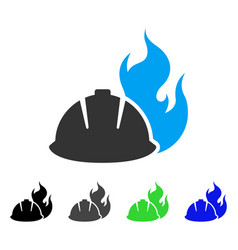 Fire protection helmet flat icon vector